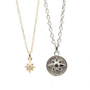 コンパスと星のペアネックレス
